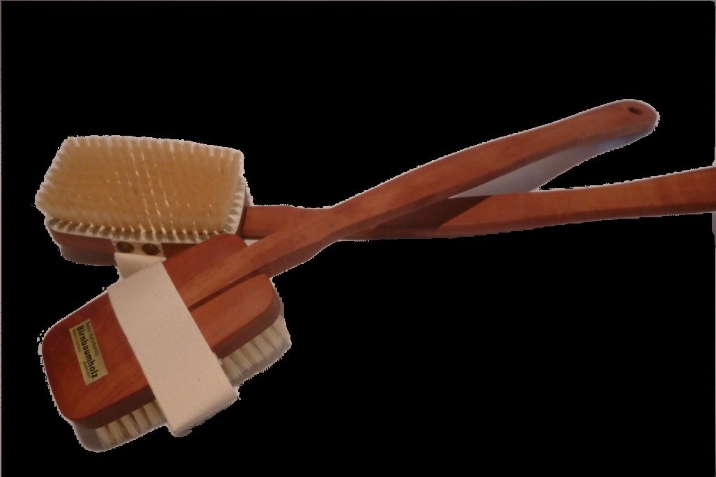 Badebürste, echt Birnbaum auf Platte gearbeitet, mittelharte Naturborsten