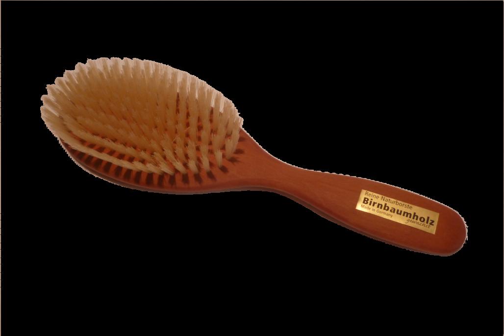 Haarbürste Birnbaum mit Naturborsten groß oval