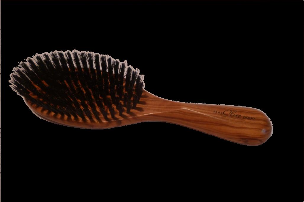 Haarbürste echt Olivenholz mit Wildschweinborsten groß oval