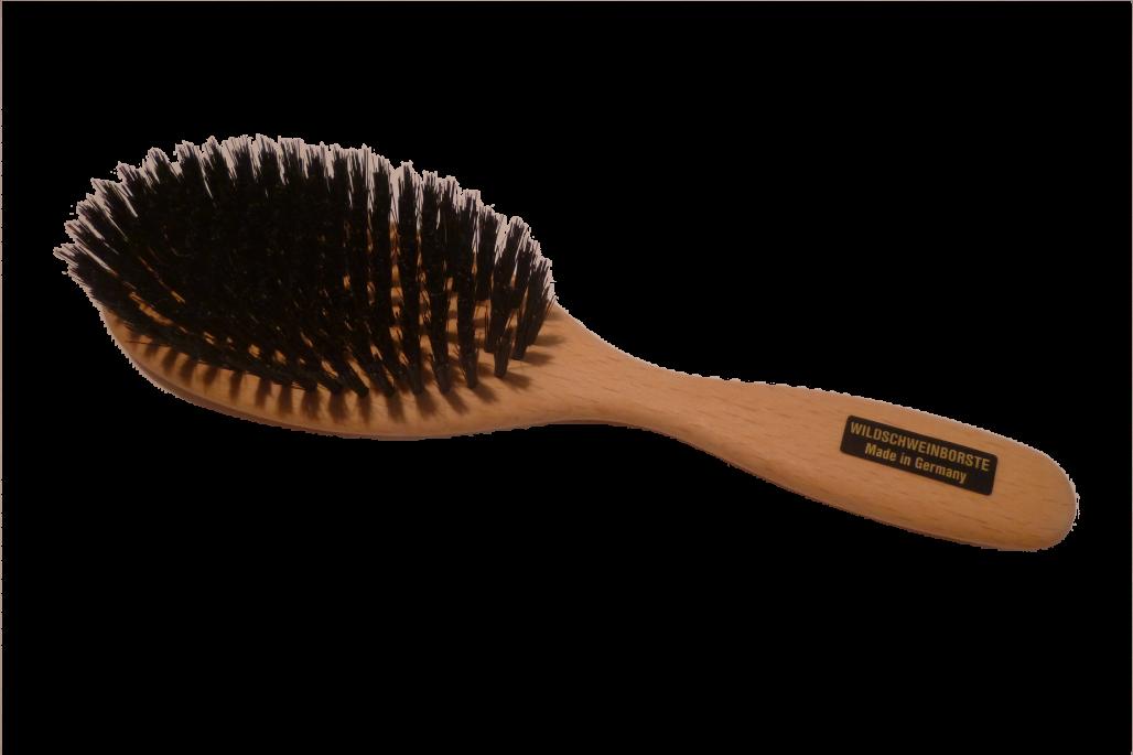 Haarbürste Wildschweinborsten groß oval