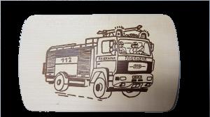 Brotzeitbrett Feuerwehrauto 15x24x1 cm