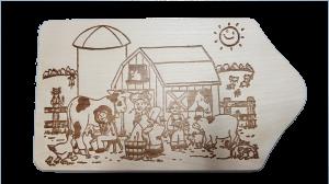 Brotzeitbrett Bauernhof 13x23x1 cm