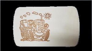 Brotzeitbrett Traktor lachend  15 x 24 x 1 cm
