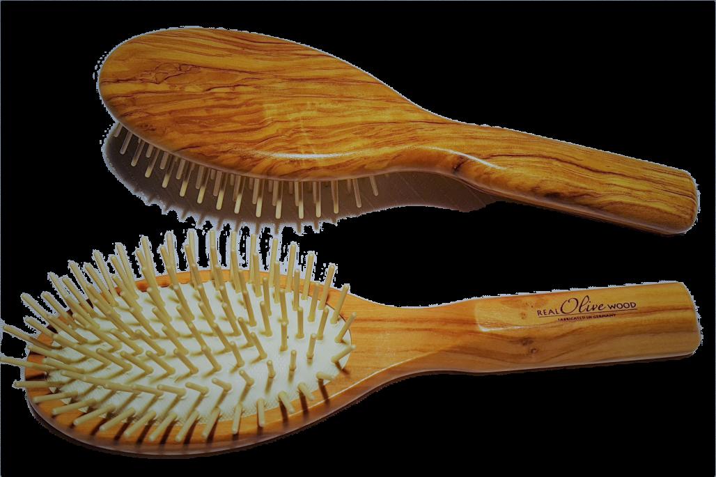 Haarbürste Olivenholz Holzstifte oval groß